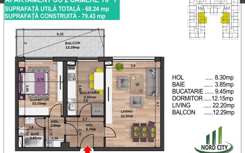 Apartament cu 2 camere tip 1 Nord City