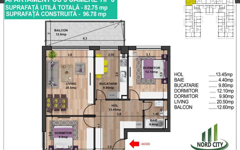 Apartament cu 3 camere tip 6 - Nord City