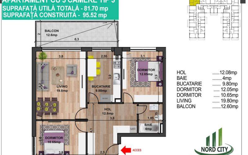 Apartament cu 3 camere tip 3 - Nord City