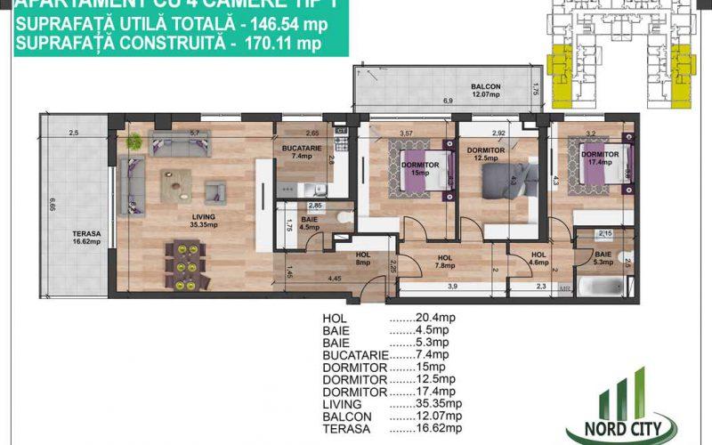 Apartament cu 4 camere  Tip 1 - Nord City