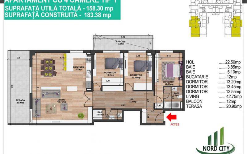 Apartament cu 4 camere  Tip 2 - Nord City