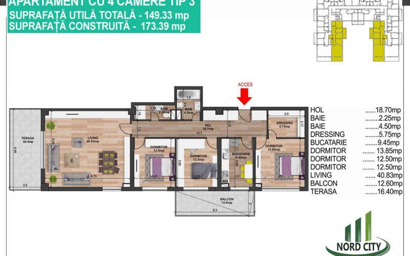 Apartament cu 4 camere  Tip 3 - Nord City