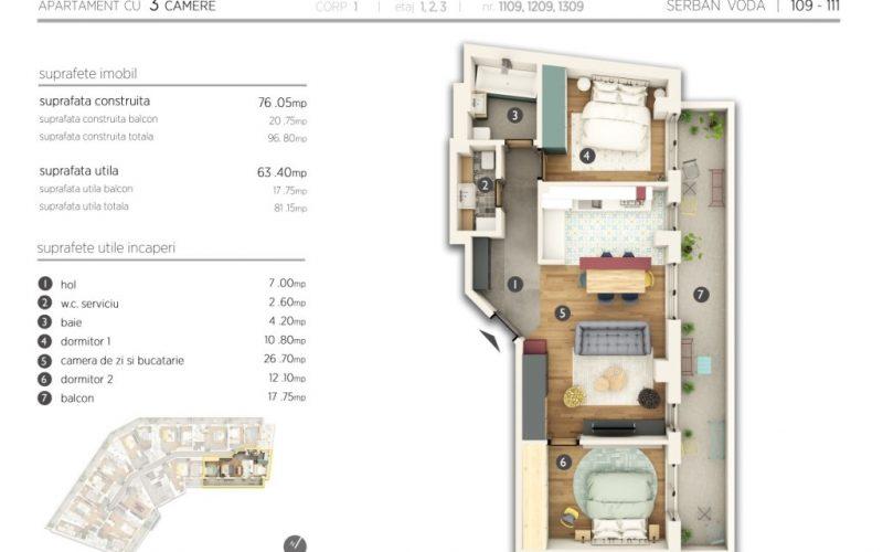 Plan 2d Apartament 3 camere Serban Voda 111 Residence