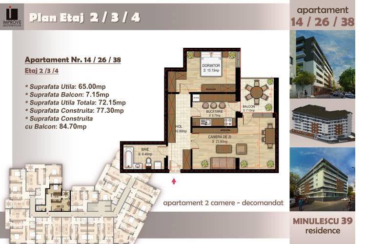 Apartament cu 2 camere Minulescu 39 Residence007