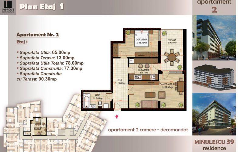 Apartament cu 2 camere Minulescu 39 Residence013