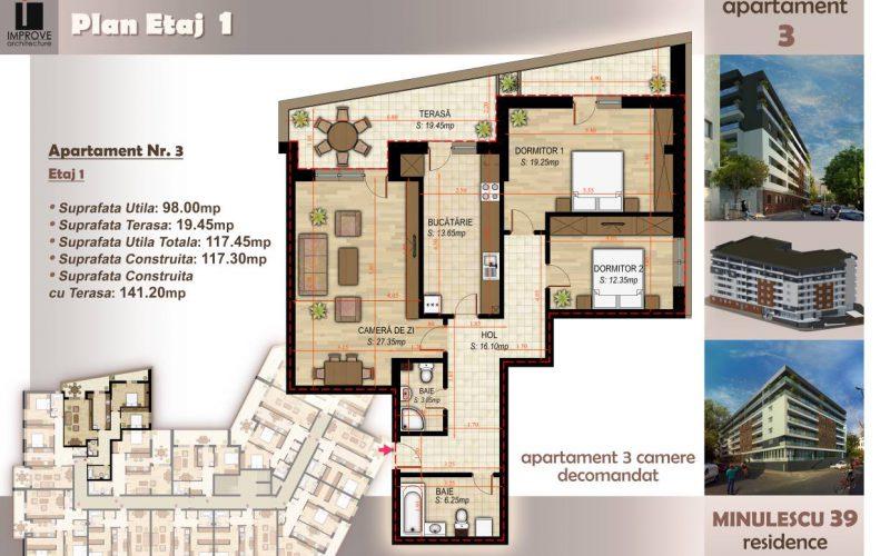 Apartament cu 3 camere Minulescu 39 Residence019