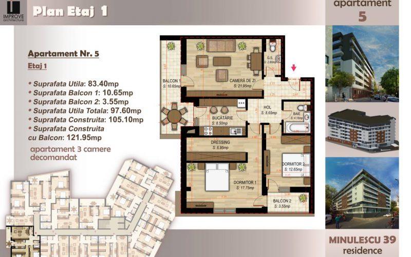 Apartament cu 3 camere Minulescu 39 Residence022