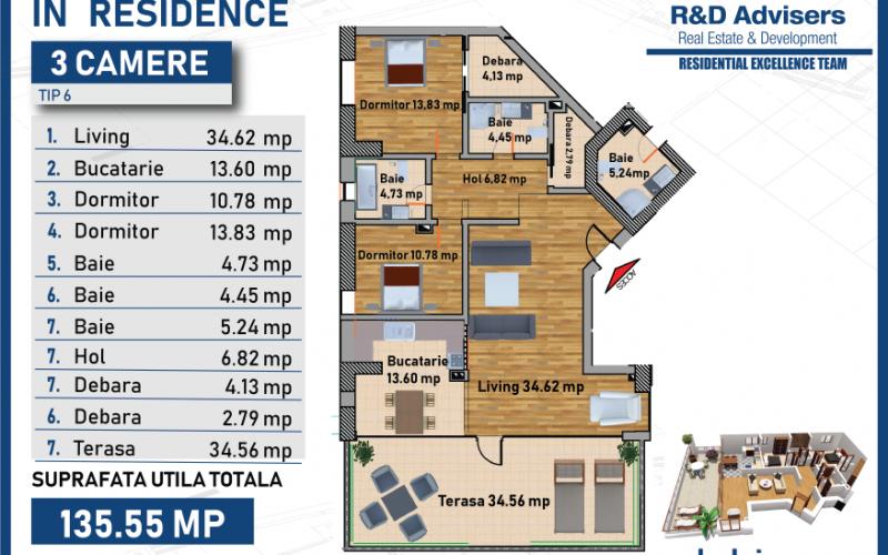 Apartament cu 3 camere tip 6 In Residence