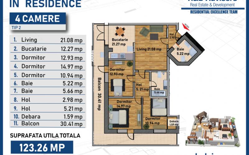 Apartament cu 4 camere In Residence