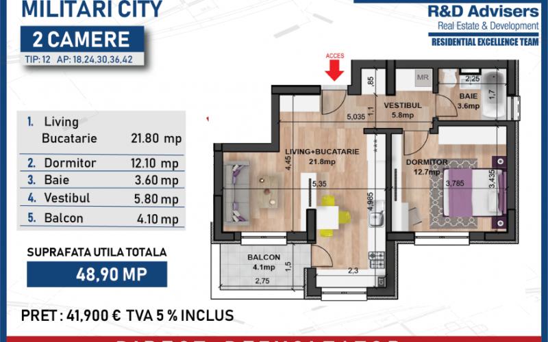 Apartament 2 camere Ansamblul Rezidential Element City Militari