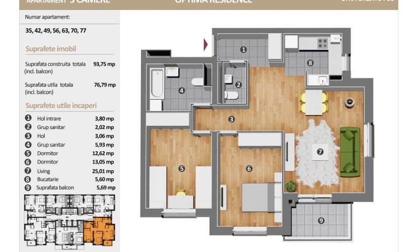 Optima Residence Apartament cu 3 Camere