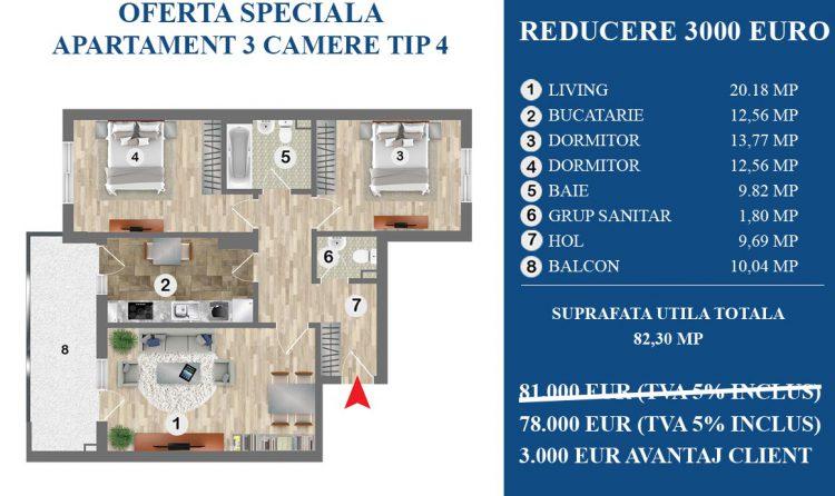 Oferta speciala Policolor residence 3000 euro reducere la apartament cu 3 camere tip3