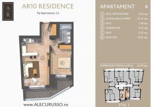 Schita 2D cu Apartament cu 2 camere Alecu Russo Residence