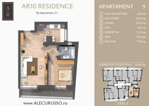 Schita 2D Apartament cu 2 camere Alecu Russo Residence