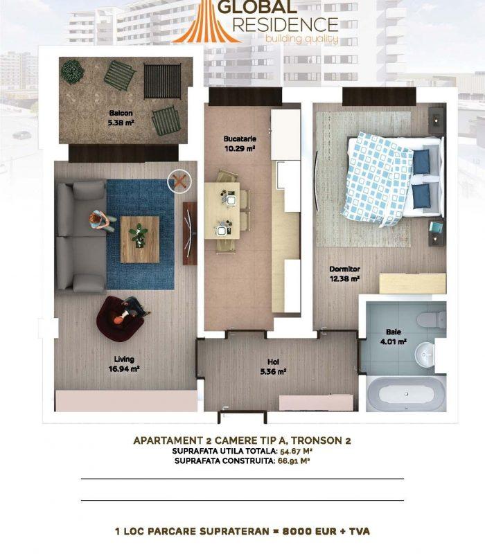2 camere- curte interioara 75.500 euro